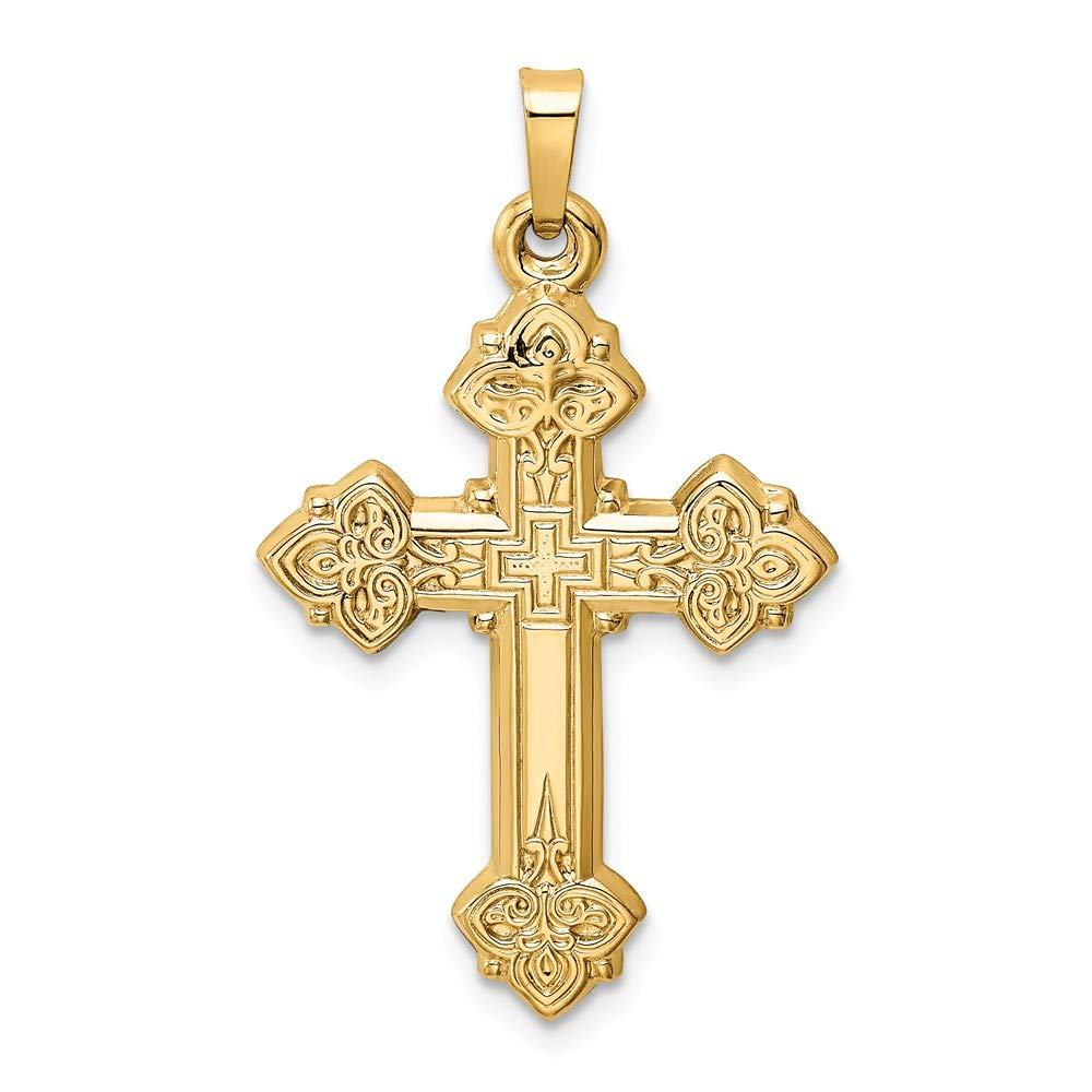 Mia Diamonds 14k Yellow Gold Budded Hollow Cross Pendant