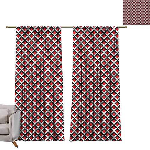 (berrly Tie Up Shades Rod Blackout Curtains Geometric,Abstract Relief Pattern Vibrant Colored Checkered Mosaic Grid Print, Vermilion Black White W96 x L96 Adjustable Tie Up Shade Rod Pocket Curtain)
