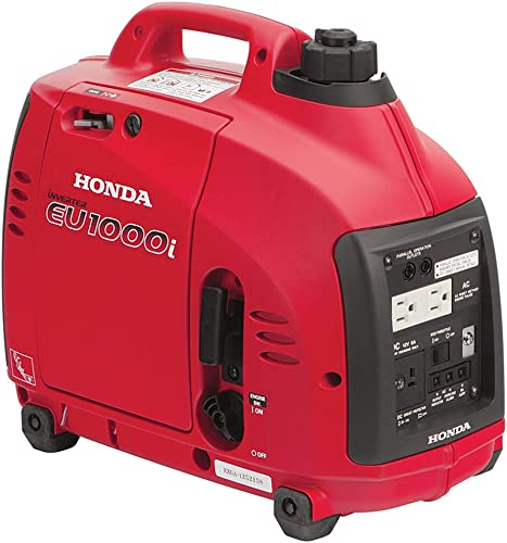 Honda EU1000i Inverter Generator, Super Quiet, Eco-Throttle, 1000 Watts 8.3 Amps 120v Red