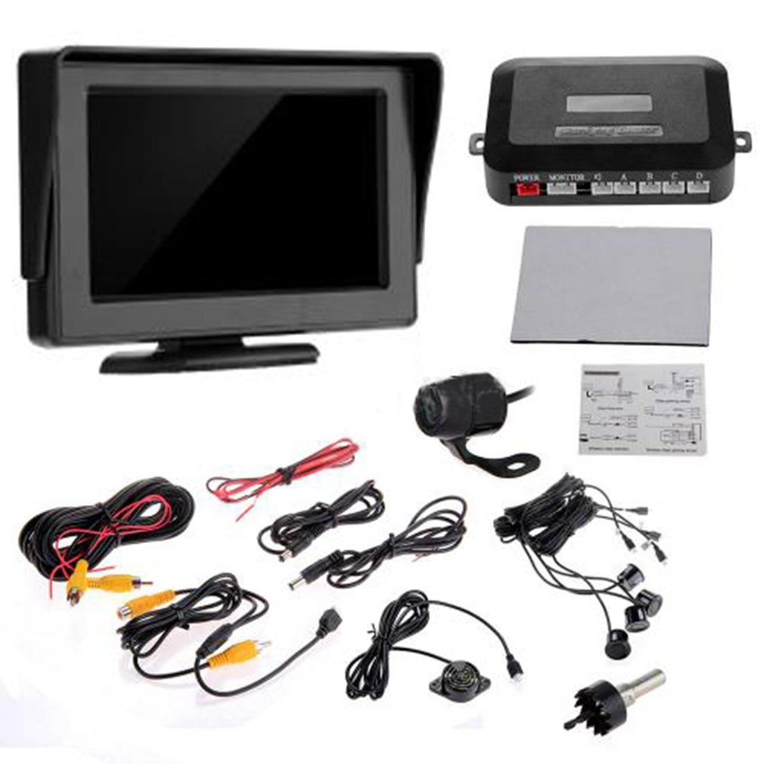 lovelifeast Reverse Kit Monitor  Cámara  Negro–Sensores de aparcamiento para coche