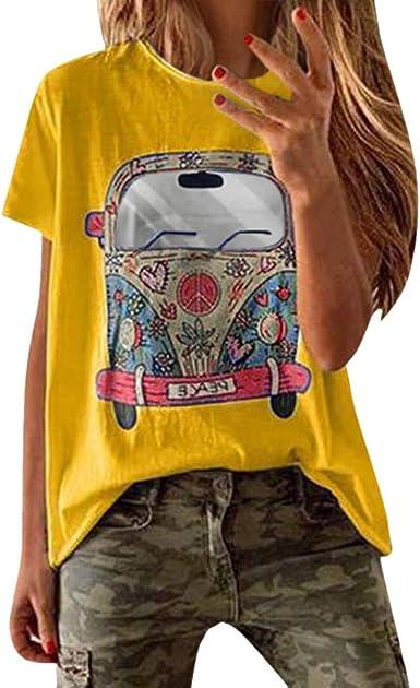 Vemow Camisetas Mujer Verano Primavera Moda Para Chicas Tallas Grandes Imprimir De Manga Corta Blusa Cuello Redondo Y Manga Corta Blusa Superior Informal Polos Tops 2019 Nueva Amazon Es Ropa Y Accesorios