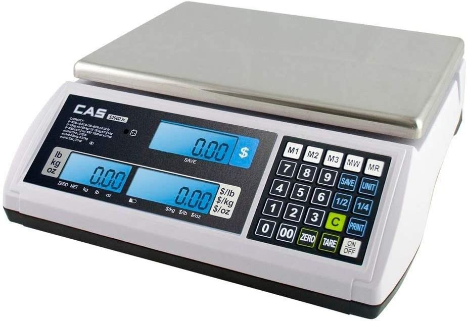 CAS S2000Jr 60 Pound Capacity - LCD Display - 3 Direct PLUs annd 199 Indirect PLUs - Food or Retail Industry Scale - NTEP Approved