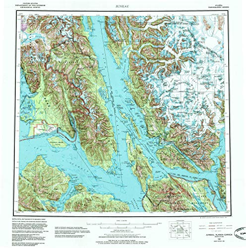 YellowMaps Juneau AK topo map, 1:250000 Scale, 1 X 2 Degree, Historical, 1962, Updated 1985, 22.2 x 22 in - Polypropylene -