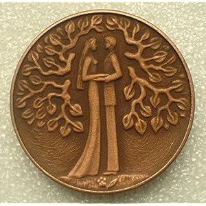 1970s Just Married USSR Soviet Union Russian Jubilee Wedding Desk Medal