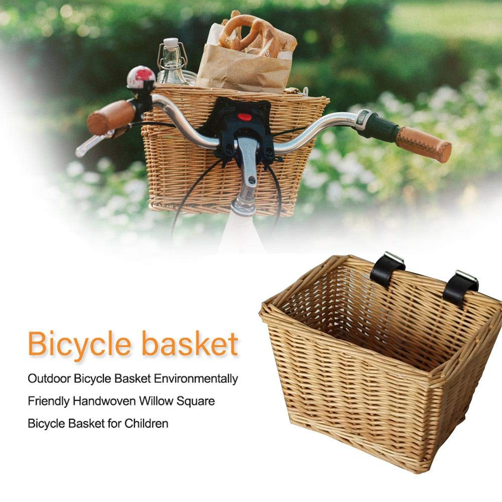 Paniers V/élo Panier /À V/élo en Osier Panier De Voiture en Plein Air /Écologique Tiss/é /À La Main Panier De L/égumes Tiss/é Panier De Saule Carr/és Enfants Panier V/élo Wicker Bicycle Basket