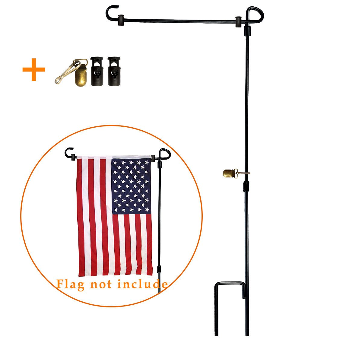 VIEKEY Garden Flag Stand-holder-Pole Come With Garden Flag Stopper And Anti-Wind Clip 36.3'' H x 16.5'' W (5 Pcs) For USA Flag Or Season Garden Flags Keep Your Flag Never Get Twisted Again