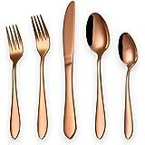 HOMQUEN Juego de cubiertos de 20 piezas en color cobre Servicio para 4, Juego de cubiertos de cubiertos de acero inoxidable,