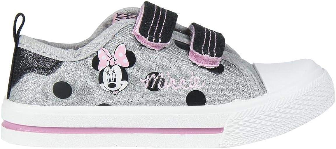 Cerdá Bambas Minnie Mouse para Niña de Color Plateado, Zapatillas Niñas
