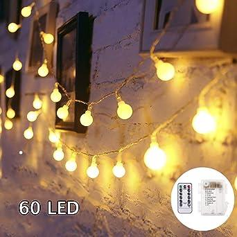 SUNNOW LED Guirnalda de Luces - 6M 60LED Guirnaldas Luces,8Mods,IP65Impermeable Iluminación Navidad para Interior/Exterior,Bolas Decorativas Luces para Fiesta y Decoración del Jardín (blanco cálido): Amazon.es: Iluminación