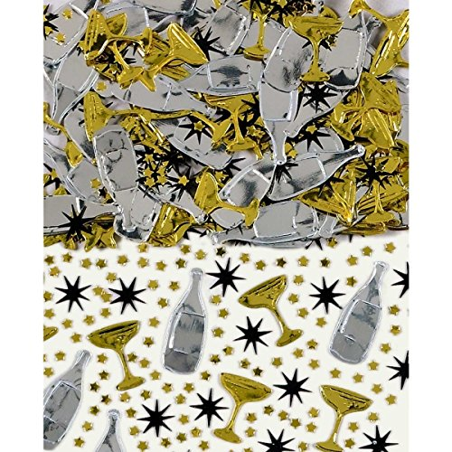 Black, Gold & Silver Champagne Table Confetti Sprinkles 14g (5 Pack)