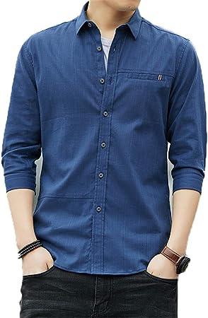 Camisas para hombre Regular Fit, Camisa casual para hombre con cuello de solapa de manga 3/