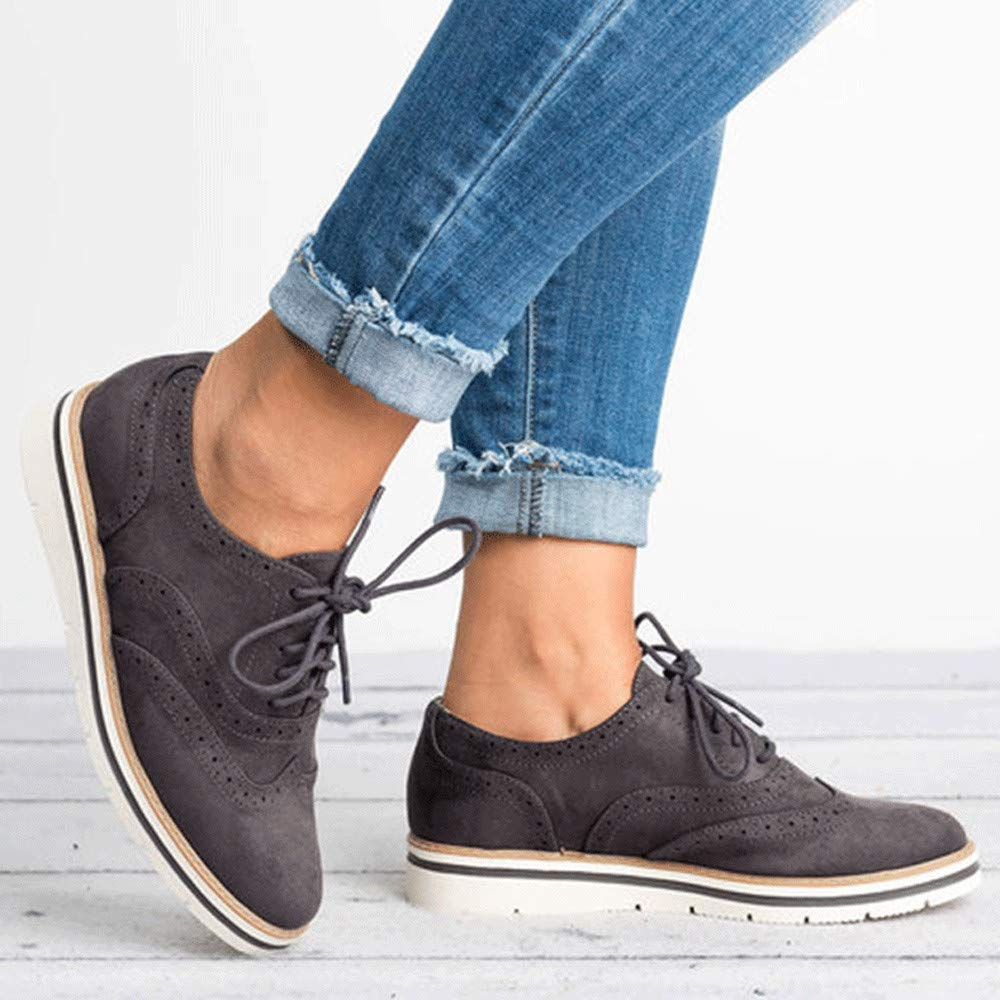 Creazrise Women's Perforated Lace-up Wingtip Leather Flat Oxfords Vintage Oxford Shoes Brogues (Black,7) by Creazrise Womens Shoes (Image #2)