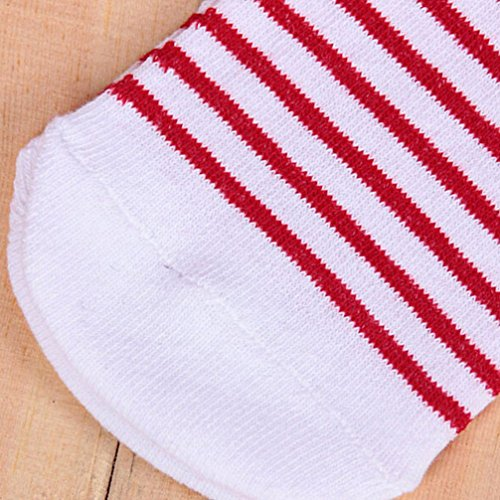 Haresle Girls Kids Knee High Socks Striped Long Socks with Bowknot (Red + White) by Haresle (Image #5)