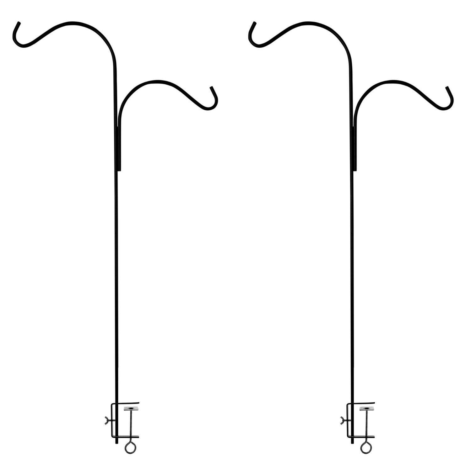 Ashman Double Span Black Deck Hook (2 Pack), 46-Inch Length, Super Strong and Ideal for Bird Feeders, Plant Hangers, Coconut Shell, Hanging Baskets, Lanterns, Wind Chimes and More!