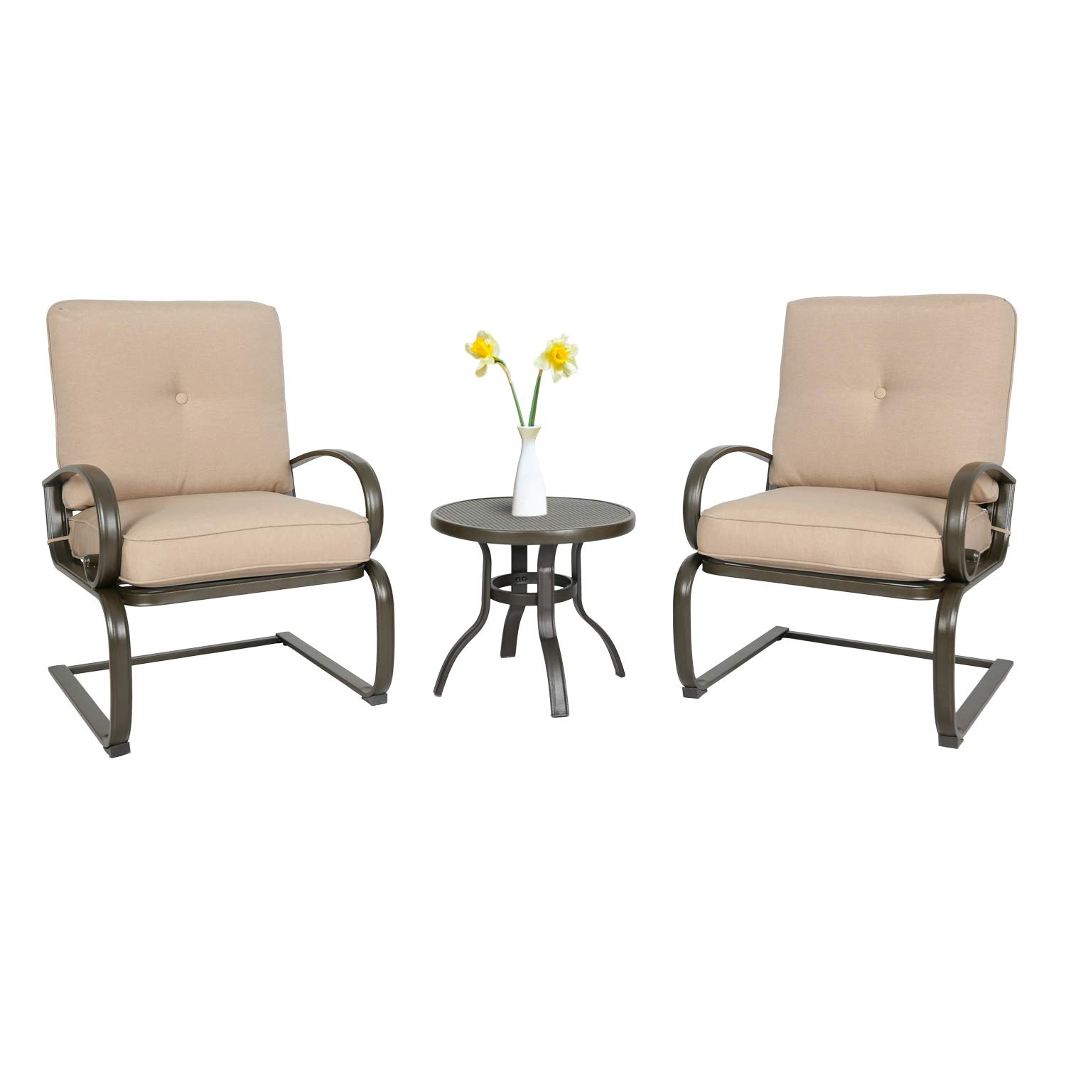 Iwicker Patio 3 PCS Bistro Set Outdoor Springs Motion Chairs and Round Table Beige