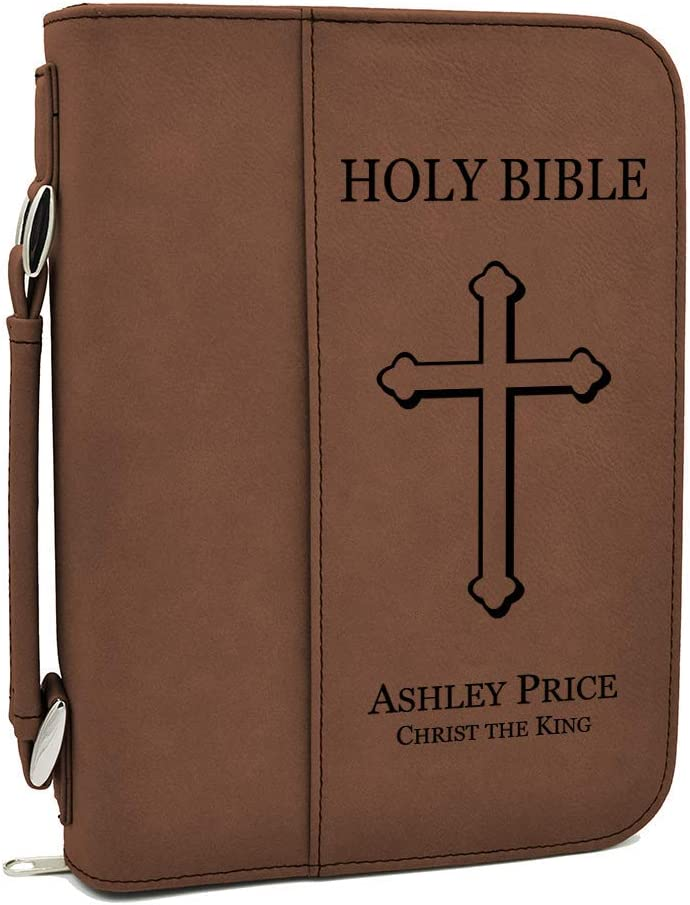 Custom Bible Cover - Holy Bible with Cross - Dark Brown Bible Case with Black Engraving