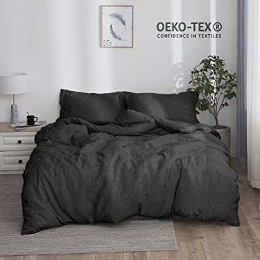 Simple&Opulence 100% Stone Washed Linen Solid Color Basic Style King Queen Twin Full Duvet Cover Sets (Dark Grey, King)