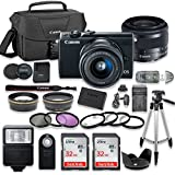 Canon EOS M10 Mirrorless Digital Camera (Black) Bundle with Canon EF-M 15-45mm f/3.5-6.3 IS STM Lens + 2pc SanDisk 32GB Memory Cards + Accessory Kit
