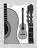 qinghexianpan Guitar Tapestry, Monochrome Design Striped Acoustic Classical Instruments Folk Country Music Concert, Wall Hanging for Bedroom Living Room Dorm, 60 W X 80 L Inches, Black White