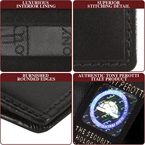 Leather Holder Perotti Bifold Wallet Card Italian Thin Tony Black Credit 0qpAEp