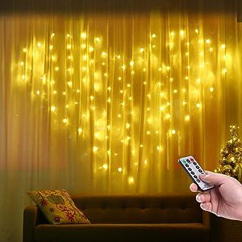 Rideaux Lumineux En Forme de Cœur, Qedertek 124 LED Guirlande Lumineuse  Coeur Blanc Chaud 2m x 1.5m 8 Modes Guirlande Intérieure pour Mariage, ...