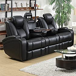 Coaster Delange Casual Black Faux Leather Power Reclining Sofa with Adjustable Headrests and Storage in Armrests
