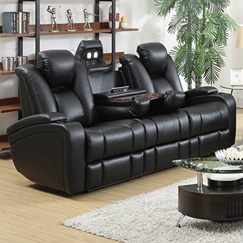 Coaster Delange Casual Black Faux Leather Power Reclining Sofa with Adjustable Headrests and Storage in (Virginia Motion Night Light)