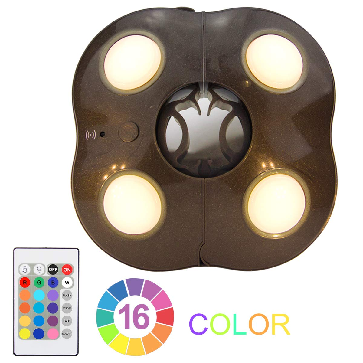 Umbrella Lights LUXSWAY Super Bright Patio Night Light 4 Modes 16 Colors Battery Operated Remote Control Camping Tent Lighting Light by LUXSWAY
