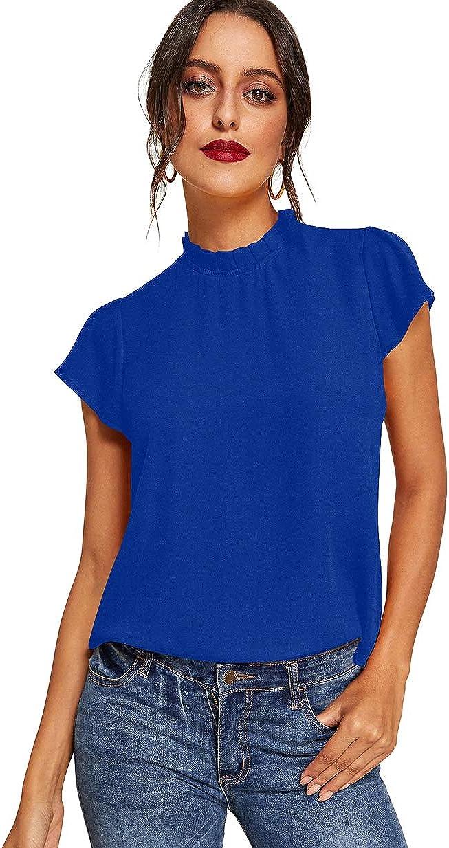 Romwe Women's Elegant Short Sleeve Mock Neck Workwear Blouse Top Shirts