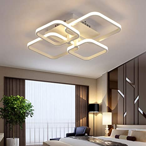 1378797eb49 Modern LED Chandeliers for Dining Room Living Room Ceiling Light Fixtures  Chic Square Dimmable Flush Mount