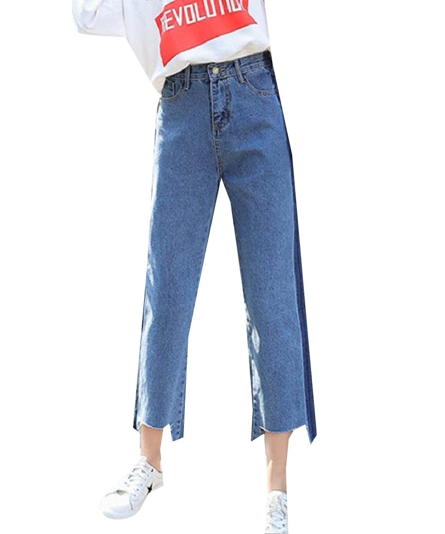 Doufine Womens Fringed Spell Color Wide Leg Straight High Waist Jeans Pants Blue 29