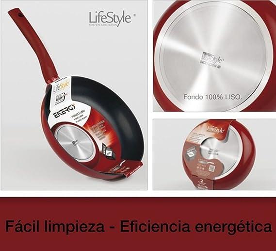 Life Style - Sarten de Aluminio Energy - 26 cms - Fondo Liso - Rojo