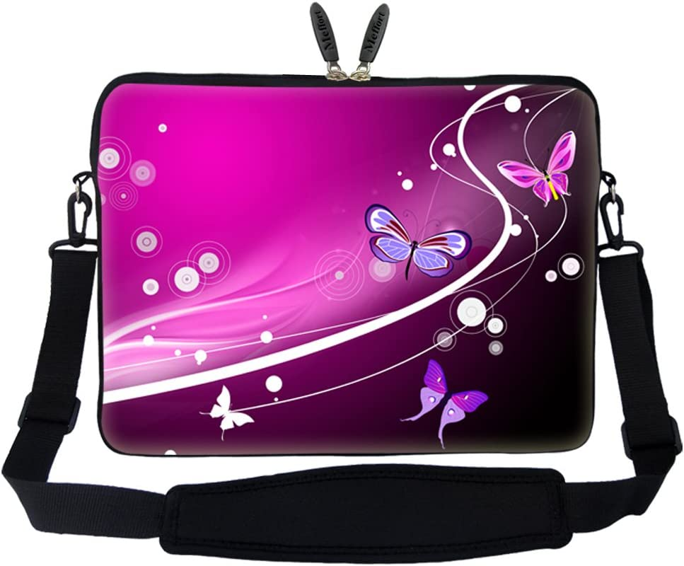 Meffort Inc 15 15.6 inch Neoprene Laptop Sleeve Bag Carrying Case with Hidden Handle and Adjustable Shoulder Strap - Pink Butterfly 1