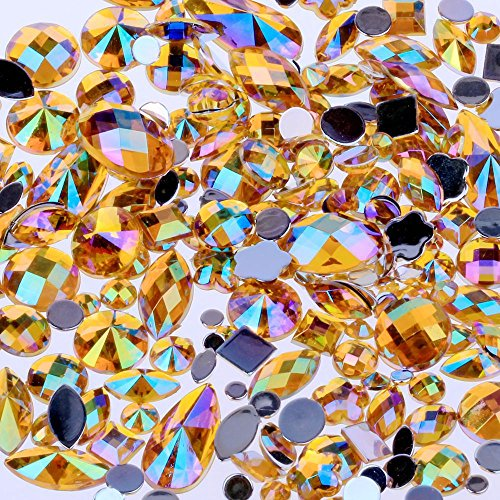 Mix Sizes 300pcs Crystal Gold Yellow AB Nail Art Rhinestones DIY Non Hotfix Flatback Acrylic Nail Stones Gems for 3D Nails Art Decorations (Gold Yellow AB)