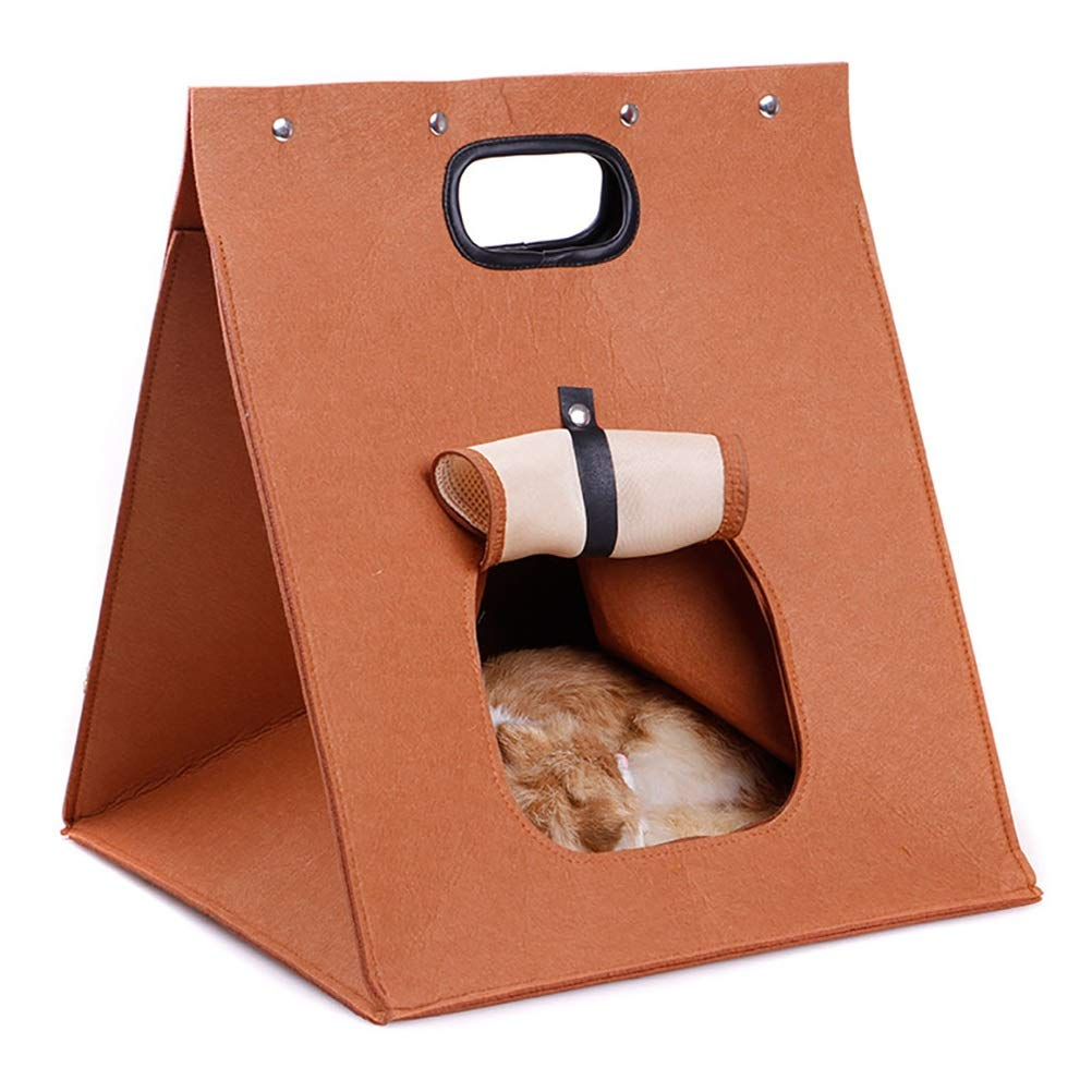 Brown Soft and Comfortable Portable pet Bag Foldable Cat Toilet can be Opened pet cave pet Warm Sleeping Bag nest Puppy Bed Four Seasons Universal (color   Brown)