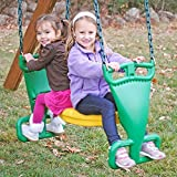 MD Group Outdoor Glider Back to Back Swing Seats Chain Strap with Footrest Position