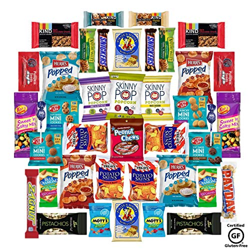 Gluten-Free Snack Pack | Gluten-Free Snacks for Kids | Chips, Cookies, Nuts, Granola, Full Size Candy