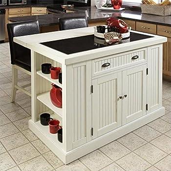Modren Amazon Kitchen Island 5022949 Nantucket And Stools Distressed White Finish N Throughout Decorating Ideas