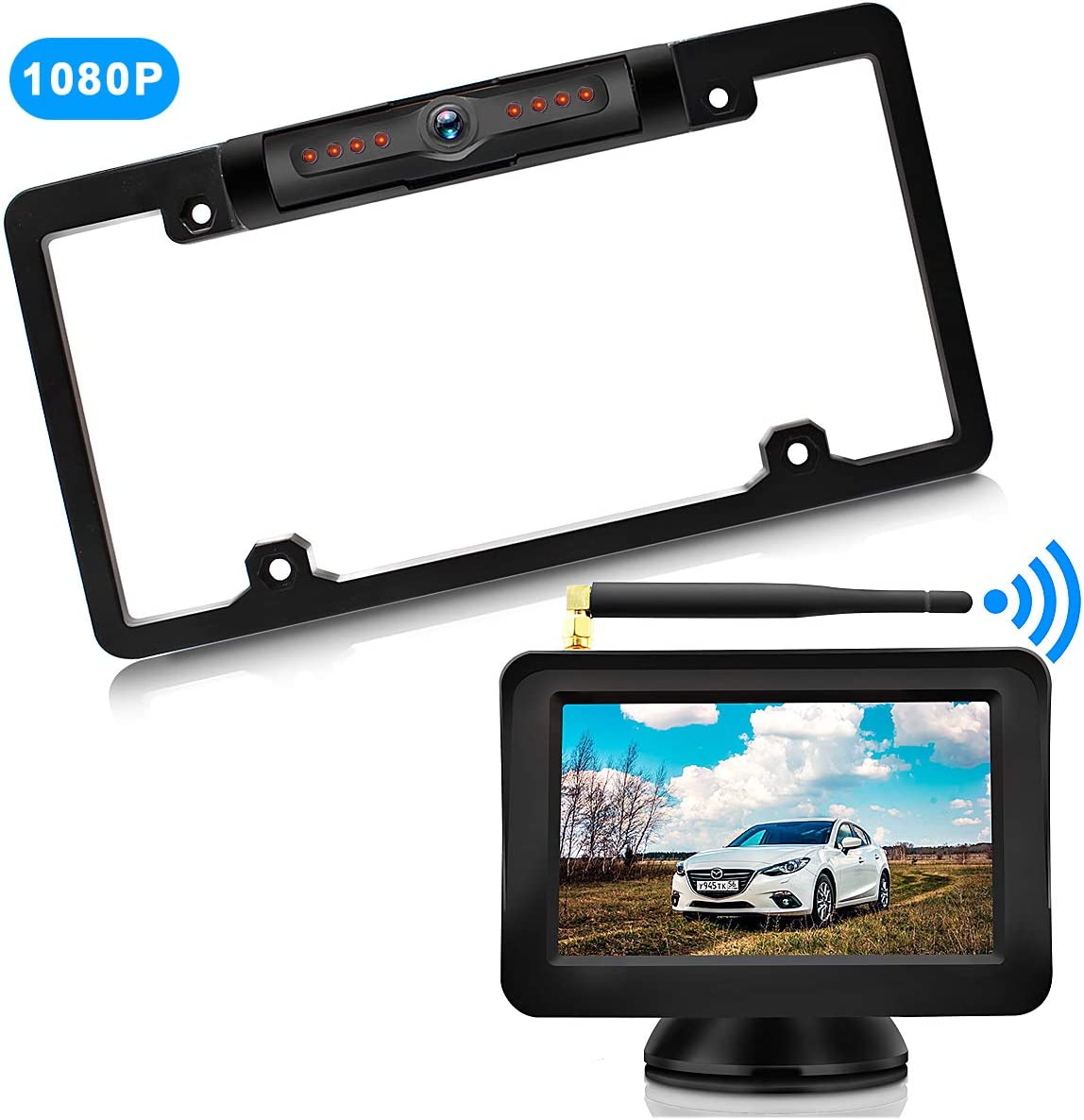 URVOLAX-Wireless Backup Camera License Plate-Monitor Kit 5 inch 1080P HD Universal Reverse-Rear View Camera IP69K Waterproof 170 Wide View Angle,Digital Stable Signal,Easy Installation Fit All Cars