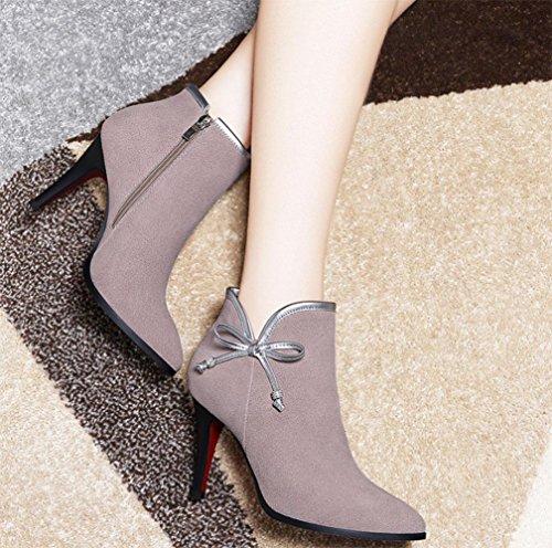 KUKI Herbst und Winter Frauen Stiefel High Heels Bogen Schuhe billig Frauen Stiefel große Frauen Stiefel leichte atmungsaktive Freizeitschuhe nude color