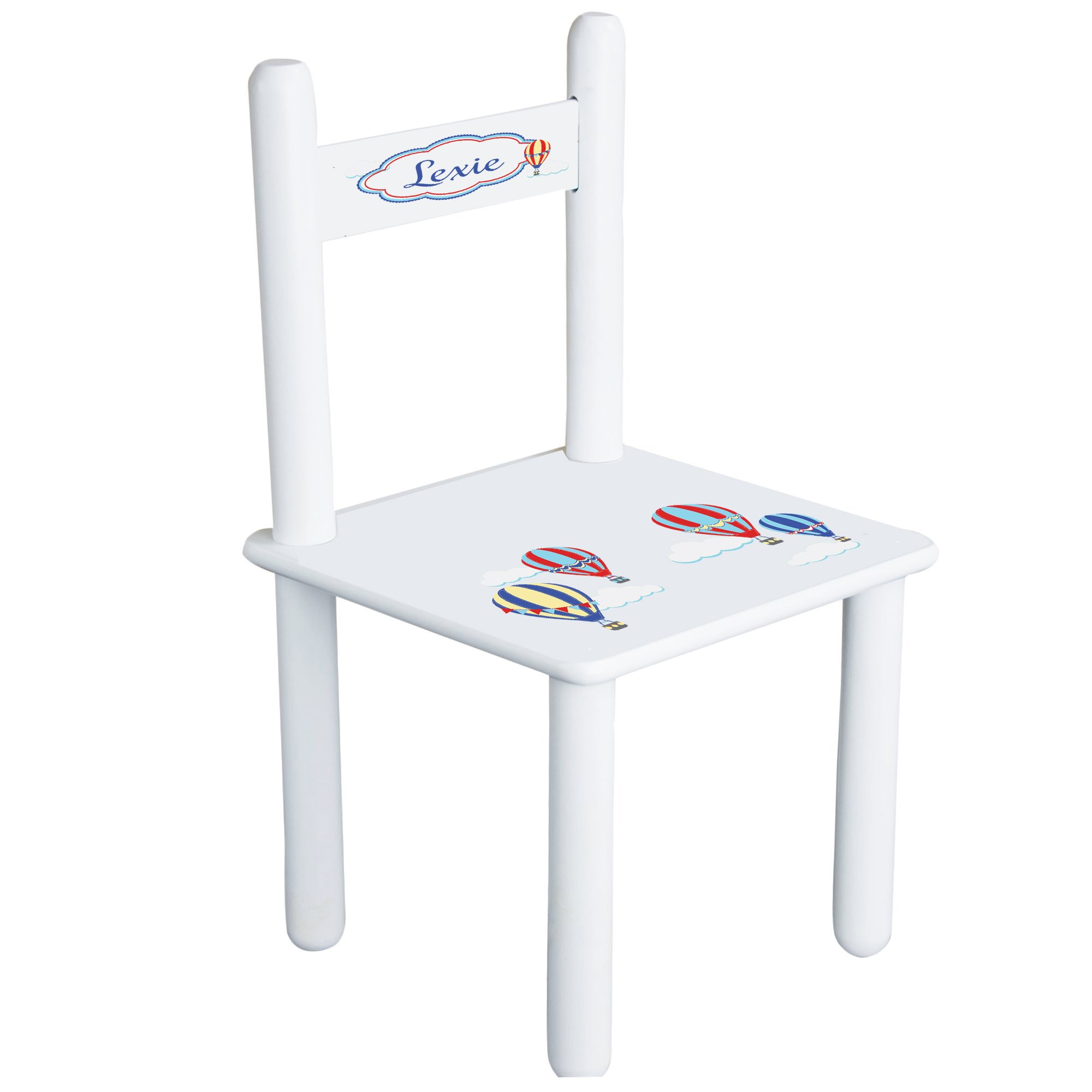 Personalized Hot Air Balloon Primary Child's Chair - white