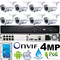 USG Business Grade 4MP 2592x1520 8 Camera HD Security System : 16 Channel 6MP Security NVR + 8x Bullet Telephoto Lens 5-50mm 10x Zoom Cameras with Deep Base Mounts + 1x 2TB HDD : Apple Android App