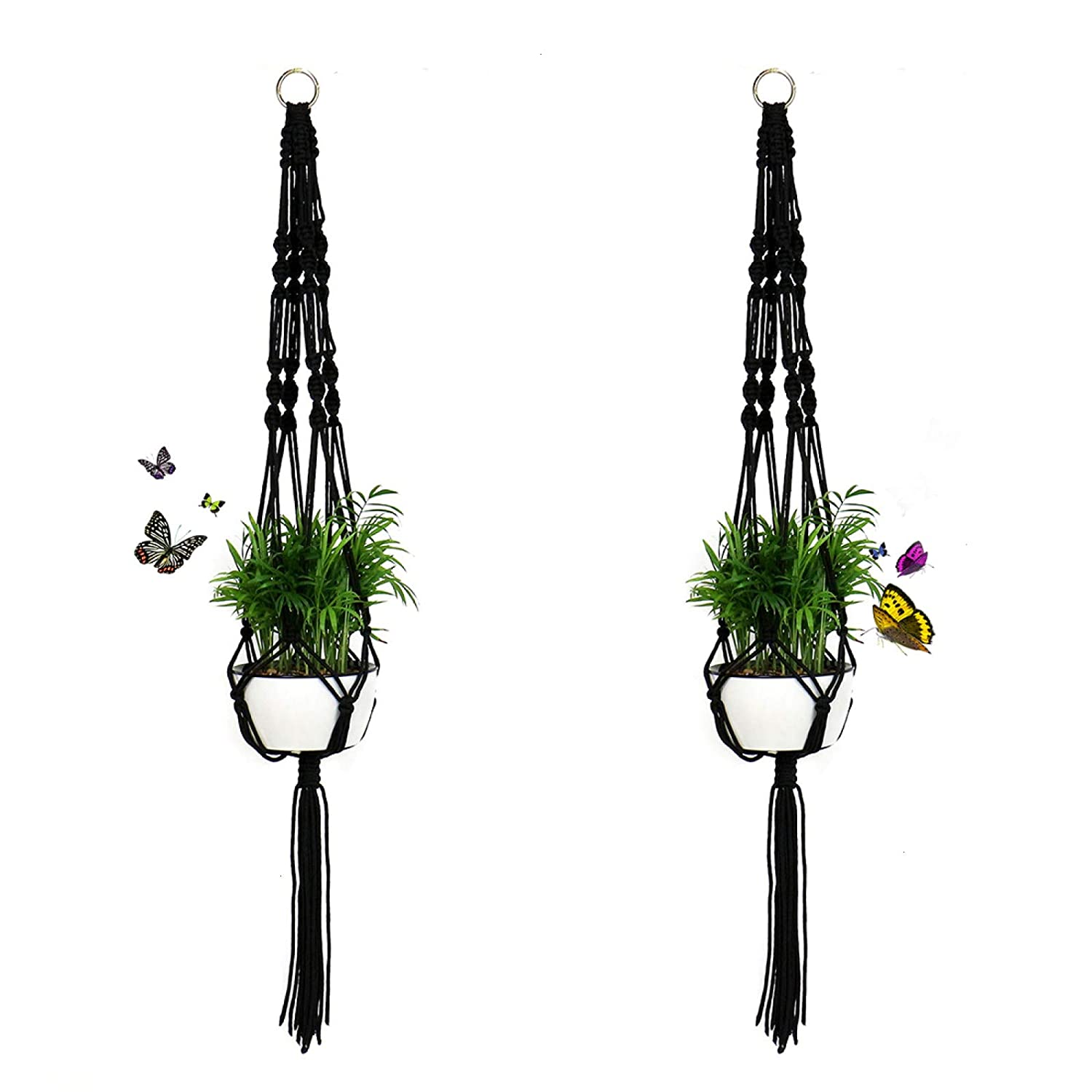 Timoo 2 Pack Plant Hanger Basket, 41 Inches Macrame Flower Pot Hanging Plant Holder Basket for Indoor Outdoor, 4 Legs Nylon Rope with Metal Ring, Black