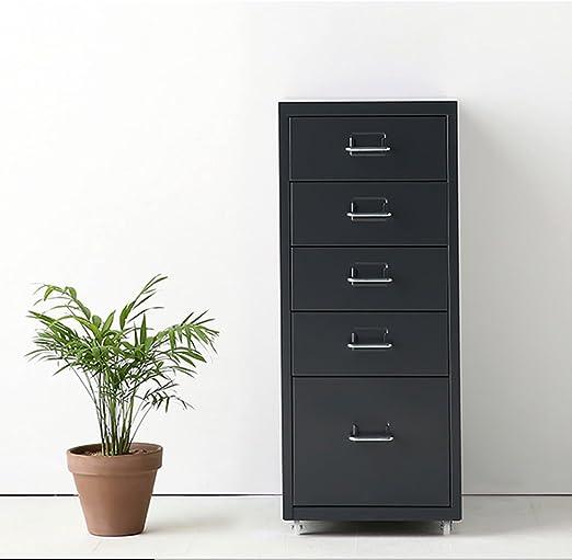IKAYAA Archivador Cajonera de Metal Mueble para Oficina Taquilla con 5 Cajones 4 Ruedas Gris Oscuro, Armario de archivador de Metal: Amazon.es: Hogar