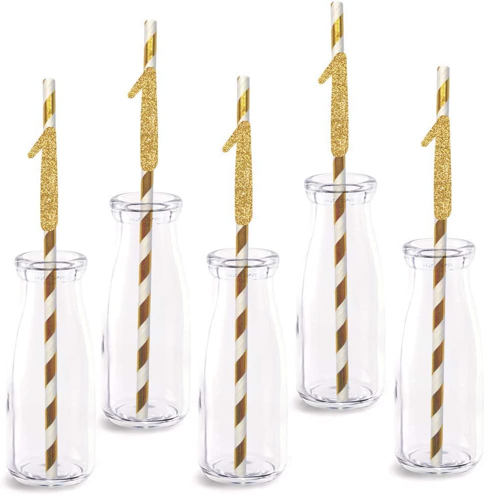 1st Birthday Paper Straw Decor, 24-Pack Real Gold Glitter Cut-Out Numbers Happy 1 Years Party Decorative Straws
