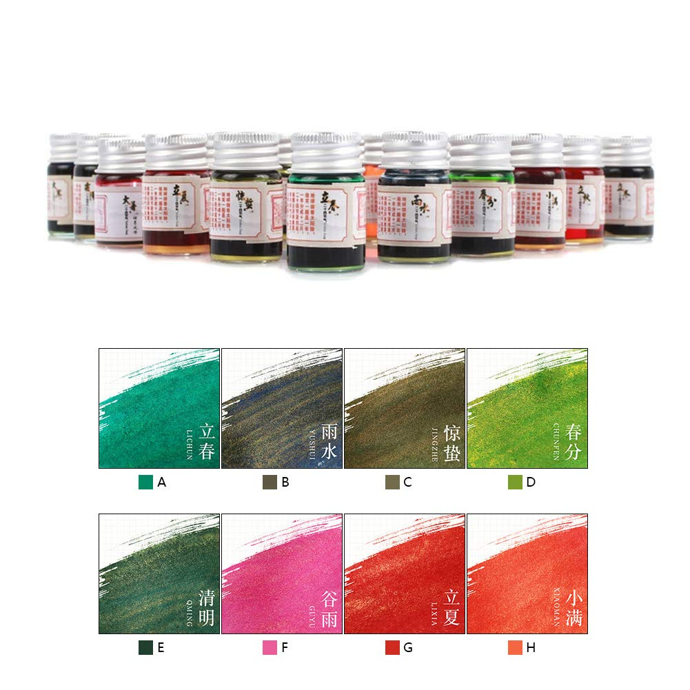 Baost 5ML Colored Calligraphy Ink Writing Painting Drawing Ink Fountain Pen Ink with Glitter Powder Glitter Art Paint Brush Pigment for Graffiti, Oil Painting, Calligraphy F by BaoST (Image #2)