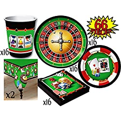 Casino Night Theme Party Supplies Pack for 16 People, Includes 16 Large Plates, 16 Small Plates, 16 Napkins, 16 Cups & 2 Table Covers - Perfect for Casino Night or Birthday