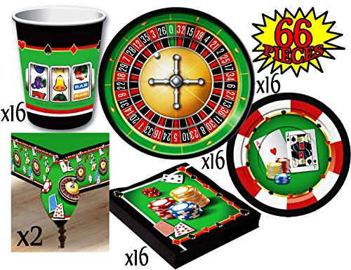 Casino Night Theme Party Supplies Pack for 16 People, Includes 16 Large Plates, 16 Small Plates, 16 Napkins, 16 Cups & 2 Table Covers - Perfect for Casino Night or Birthday -