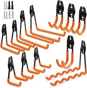 12 Pack Garage Hooks Heavy Duty, Non-Slip Garage Hanger and Organizer, Double Utility Garage Storage Hooks, Tool Hangers & Garage Organization to Storage Garden Tool, Ladder, Bike, Garden Hose