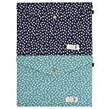 2 Pcs Enveloped File Holder Floral Printing Magnetic Snap A4 Document File Holder Filing Envelope(Green+Navy)